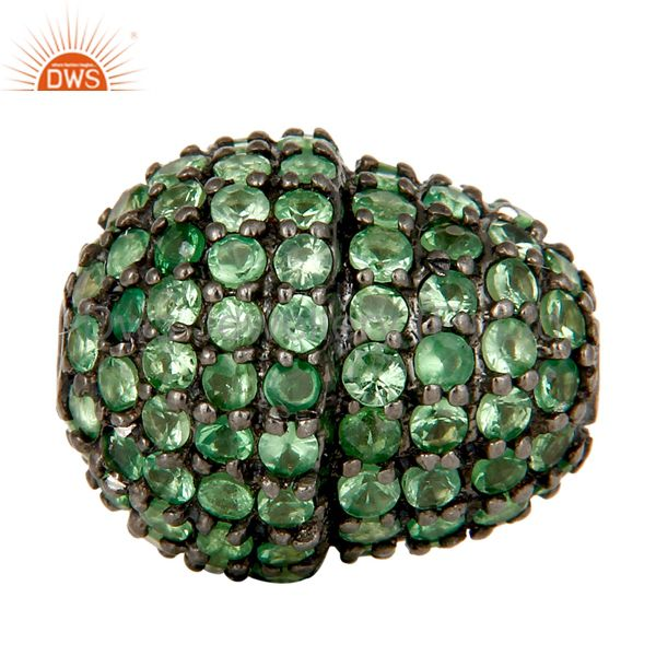 Oxidized Sterling Silver Pave Set Tsavorite Gemstone Beads Finding Charm Jewelry