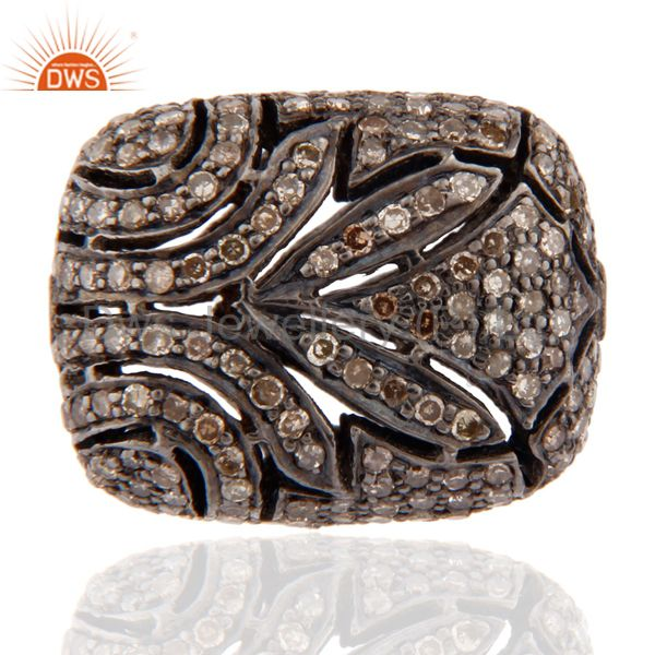 Pave Diamonds 925 Sterling Silver Finding Filigree Designer Bead Jewelry