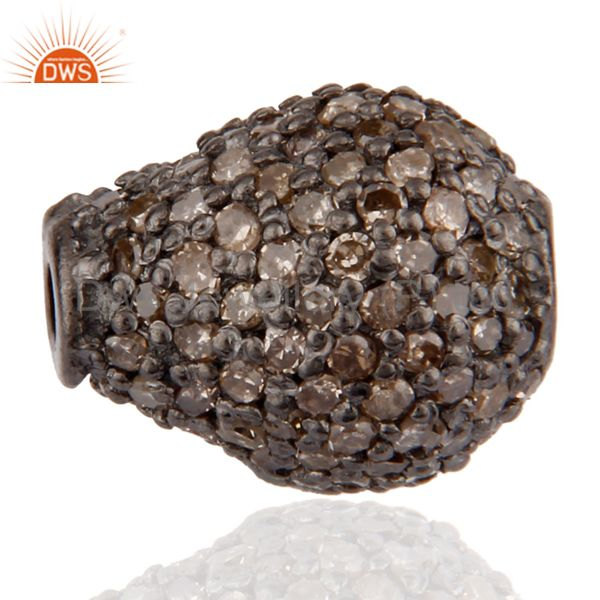 Diamond Pave 925 Sterling Silver Drop Shaped Disco Bead Spacer Finding Jewelry