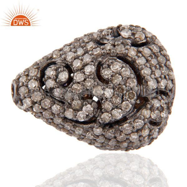 Vintage Style Natural Diamond Pave Studded Silver Drop Shaped Bead Finding Charm