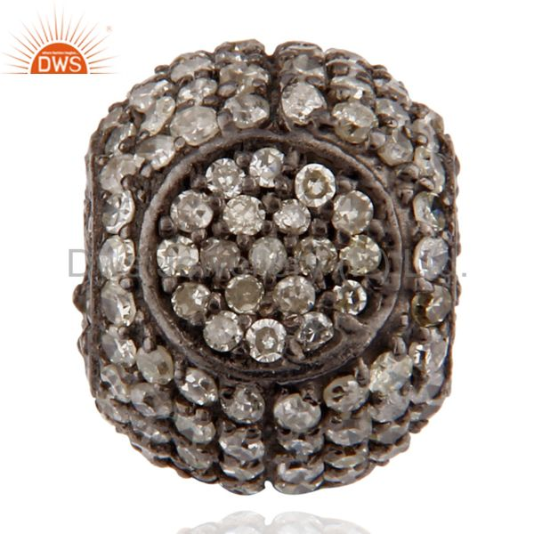 Handmade Diamond Set Pave Beads Ball Sterling Silver Finding Jewelry
