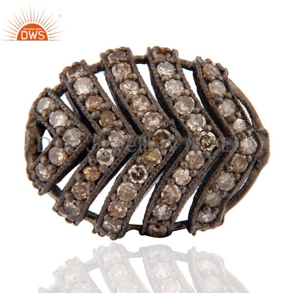 Natural diamond pave set cage beads sterling silver finding connector jewelry
