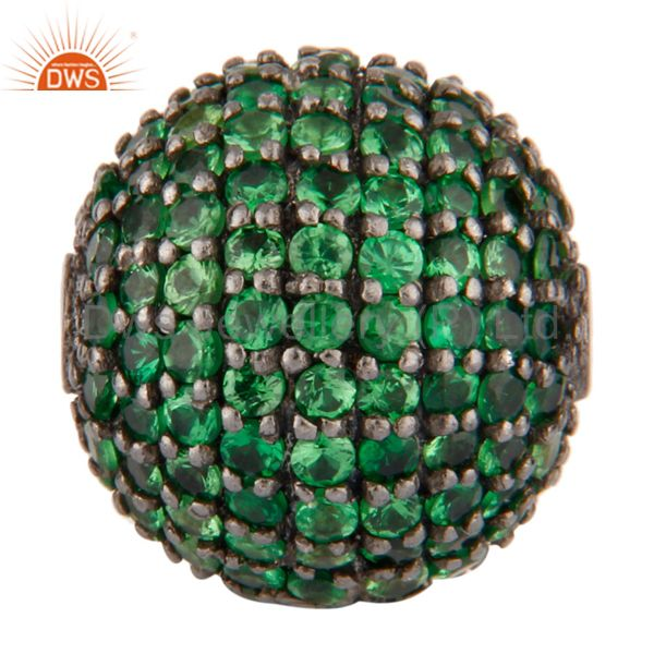 12 MM Tsavorite Gemstone Pave Beads Spacer .925 Sterling Silver Finding Jewelry