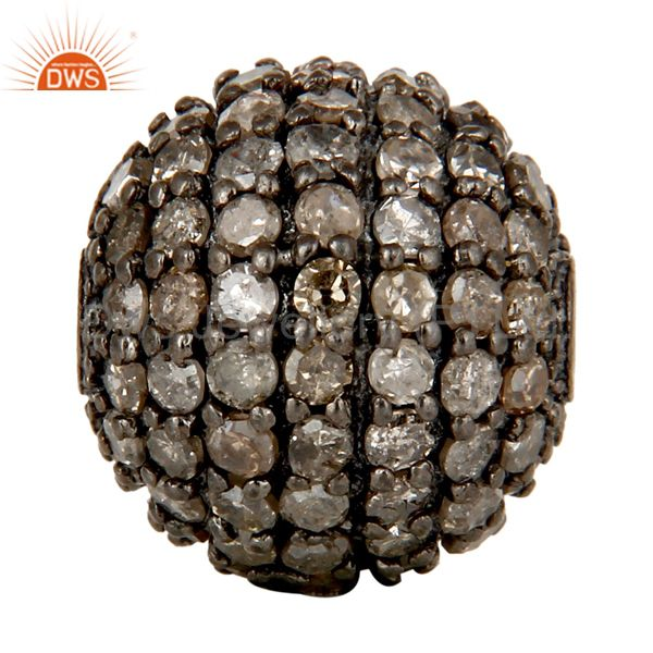 Oxidized Sterling Silver Pave Set Diamond Ball Beads Finding Charms Jewelry