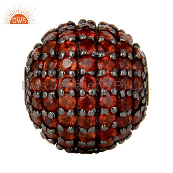 Oxidized Sterling Silver Pave Set Garnet Ball Beads Finding Charms Jewelry