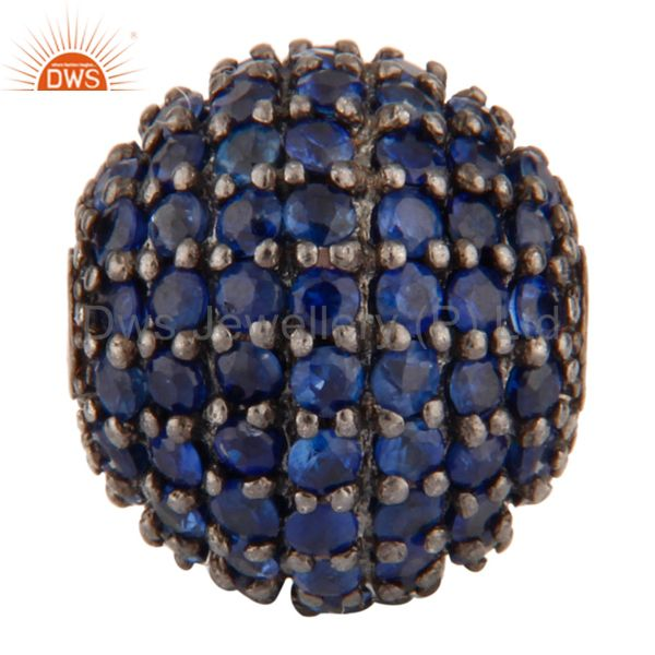 925 Sterling Silver Natural Blue Sapphire Pave Designer Sapcer Bead Ball Finding