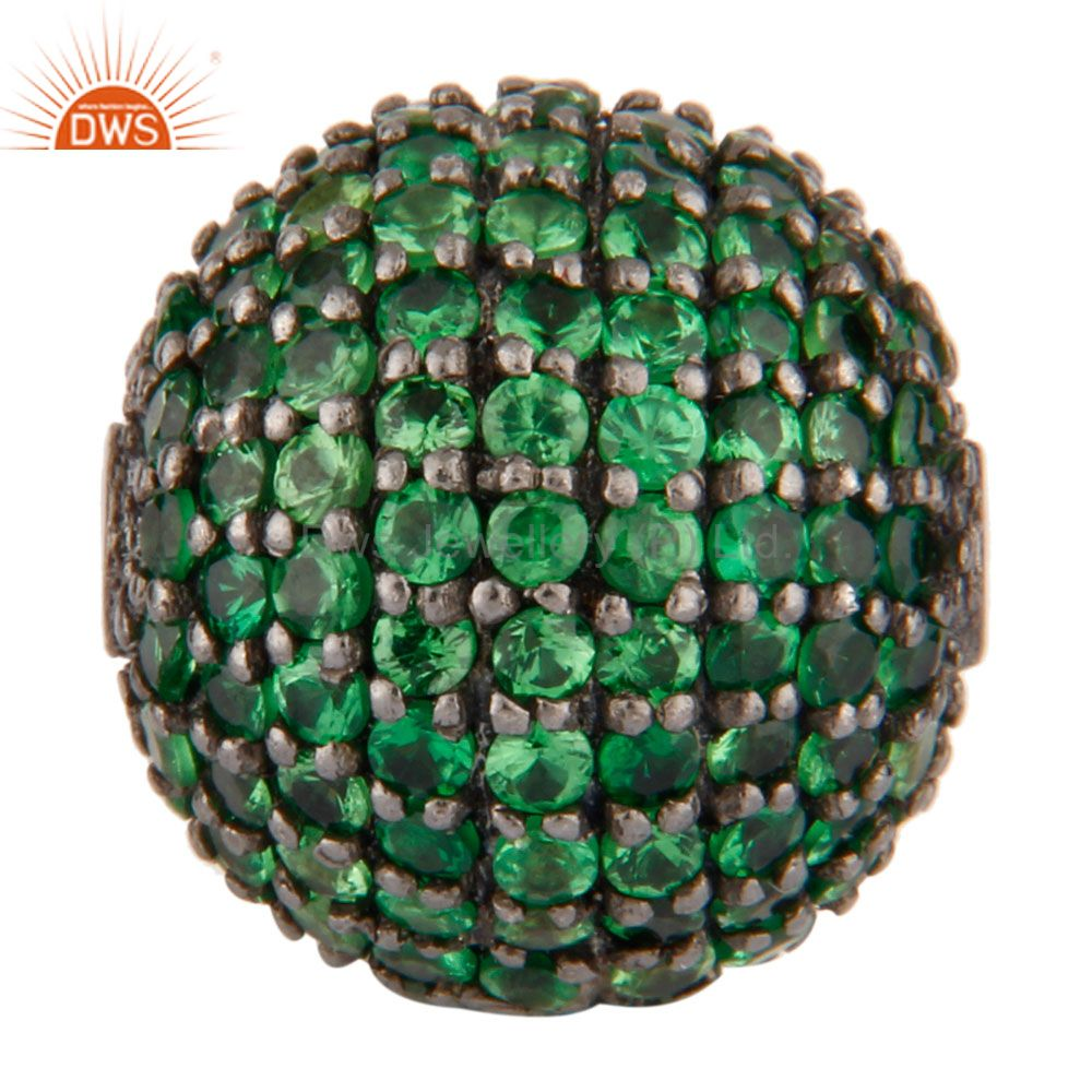 Oxidized Sterling Silver Natural Tsavorite Pave Set Spheres Beads Findings