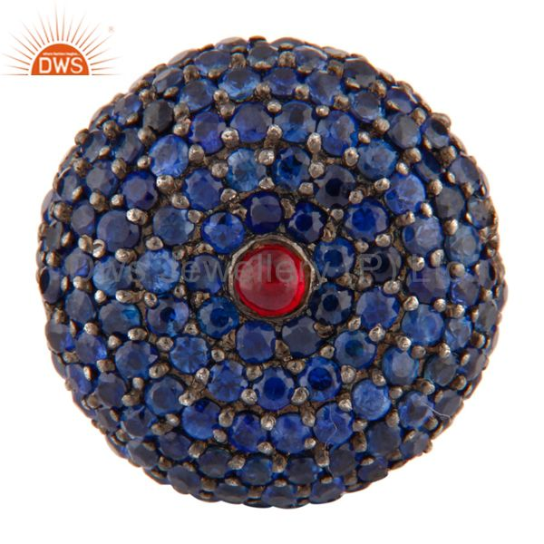 Blue sapphire & ruby gemstone bead sterling silver spacer bead finding jewelry