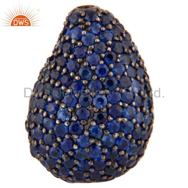 Natural Blue Sapphire Gemstone Bead Finding Made Of 925 Sterling Silver Jewelry