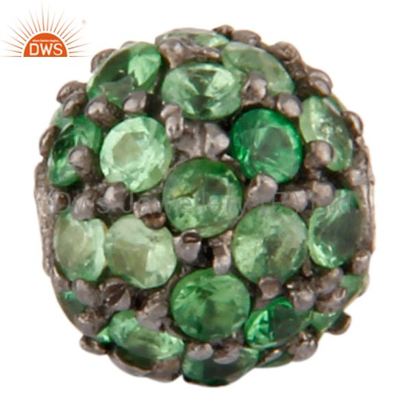 6mm Tsavorite Gemstone Pave Sterling Silver Beads Finding Spacer Bead Jewelry