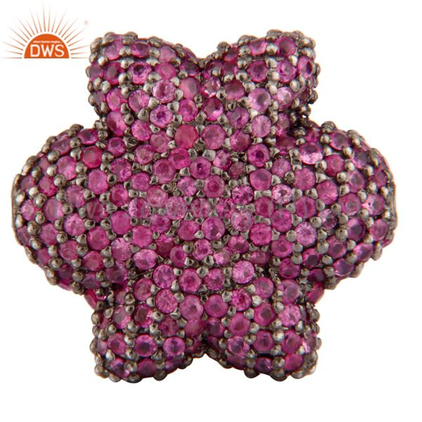 925 sterling silver beads charm finding jewelry with pink sapphire gemstone