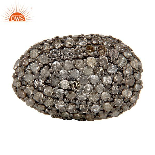 Oxidized Sterling Silver Diamond Pave Set Ball Beads Finding Charms Jewelry