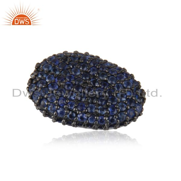 Oxidized sterling silver blue sapphire pave set ball bead finding charms jewelry