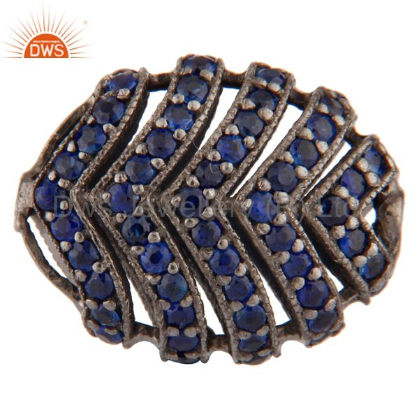 Blue Sapphire Pave 925 Sterling Silver Gemstone Charm Finding Jewelry