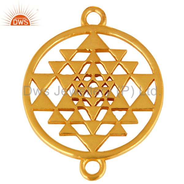 18K Gold Plated Sterling Silver Sri Yantra Charm Connector For Spiritual Jewelry
