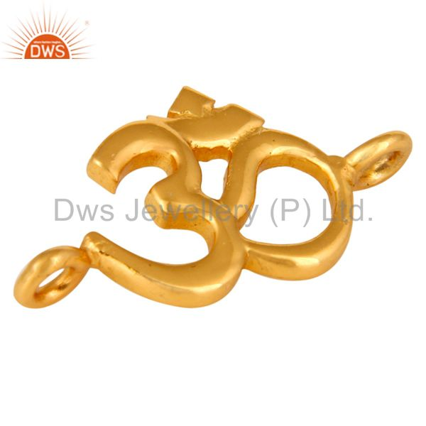 18k yellow gold plated over sterling silver om ohm aum charm connector finding