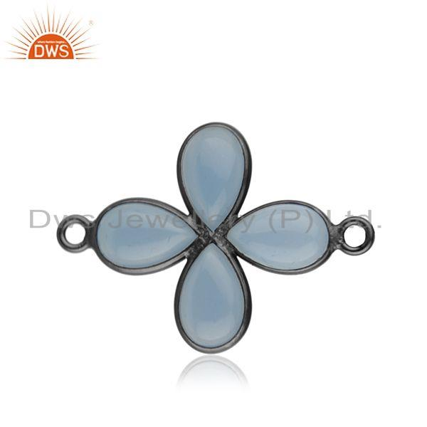 Blue Chalcedony Gemstone  Brass Black Rhodium Plated Connector Jewelry Findings