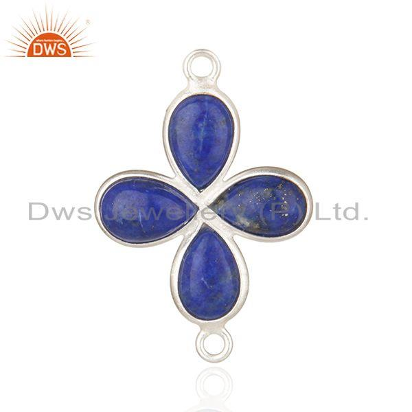 Silver Plated Brass Fashion Lapis Lazuli Gemstone Connector Findings