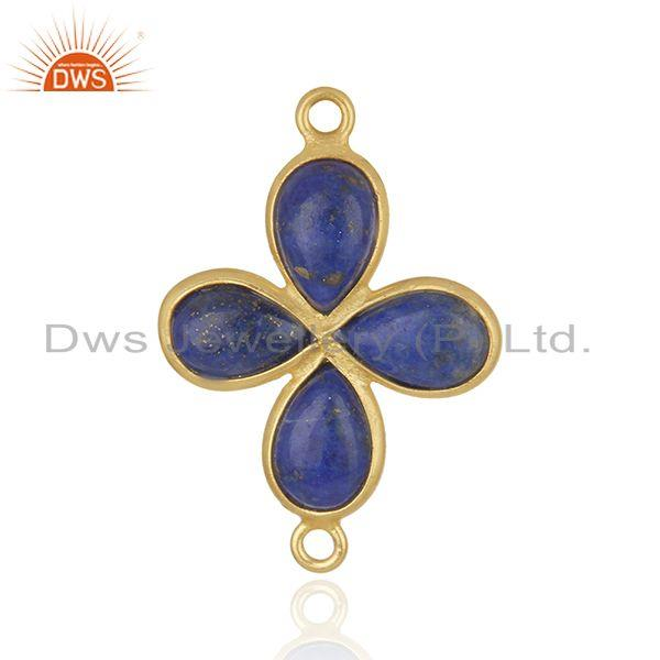 Gold Plated Brass Fashion Lapis Lazuli Gemstone Connector Wholesaler