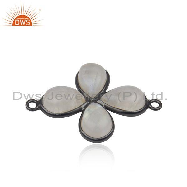 Rainbow Moonstone Black Brass Fashion Connectors Jewelry Manufacturer