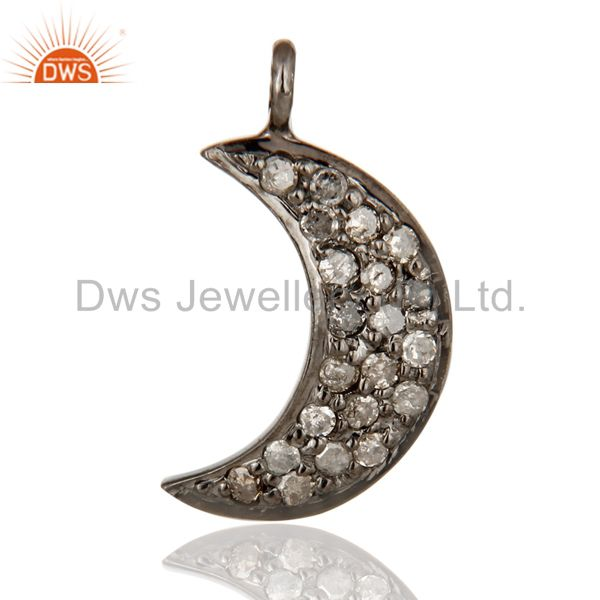Natural Pave Diamond 925 Sterling Silver Crescent Moon Charms Pendant Jewelry