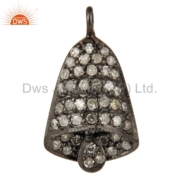 Natural diamond pave set sterling silver christmas pooja bell charm jewelry