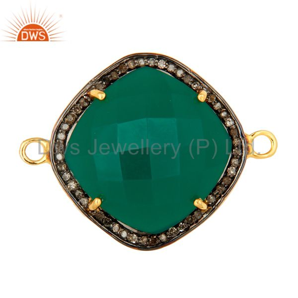 Faceted Green Onyx And Pave Diamond Connector In 18K Gold Over Sterling Silver