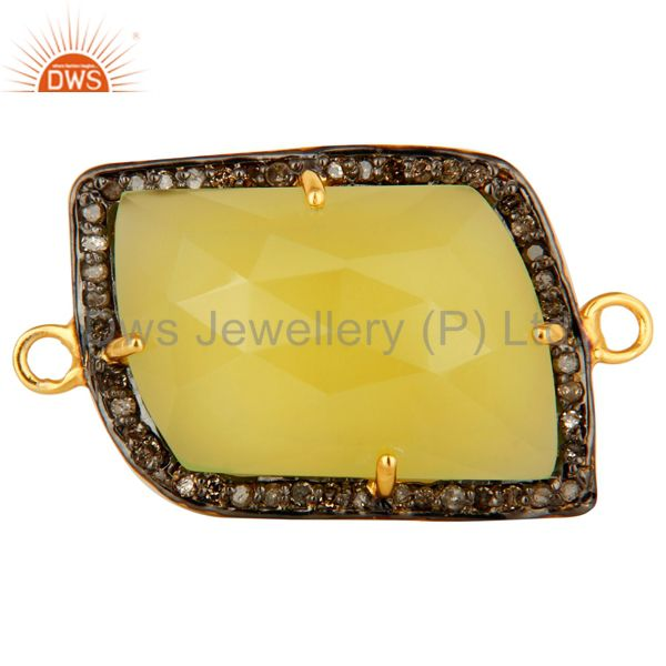 Yellow Chalcedony Gemstone Sterling Silver Pave Diamond Connector