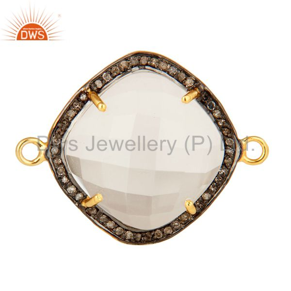 18K Yellow Gold Plated Sterling Silver Crystal Quartz And Pave Diamond Connector