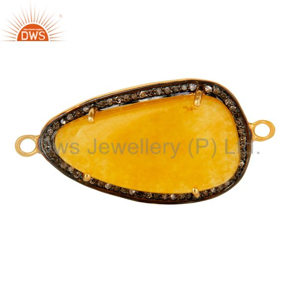 Pave diamond prong set yellow aventurine connector in 14k gold over 925 silver