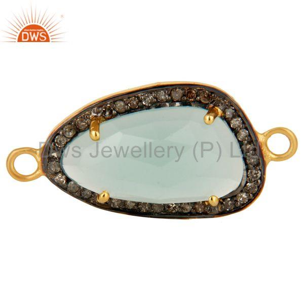 18k gold over sterling silvrer dyed aqua blue chalcedony pave diamond connector