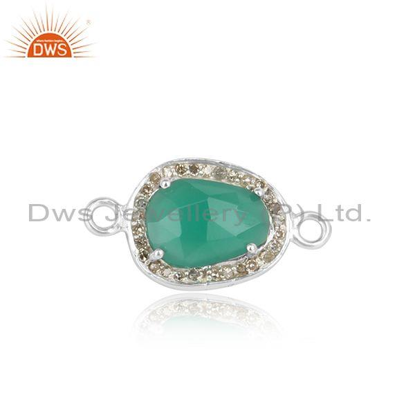 Green Onyx Pave Diamond Designer Sterling Silver Connector