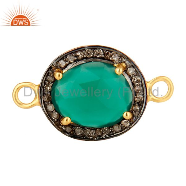 18K Yellow Gold Over Sterling Silver Green Onyx With Pave Diamond Connector