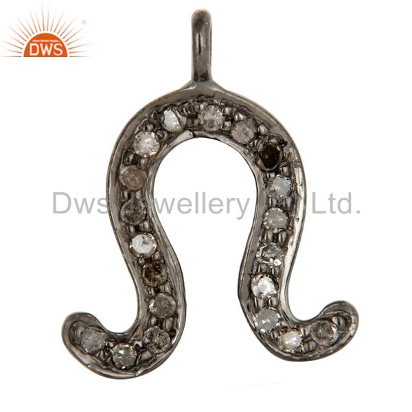 Pave Set Diamond 925 Sterling Silver Wishbone Charms Findings Jewelry