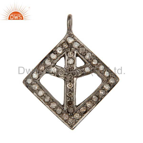 Genuine Sterling Silver Natural Pave Diamond Power Sign Charm Pendant