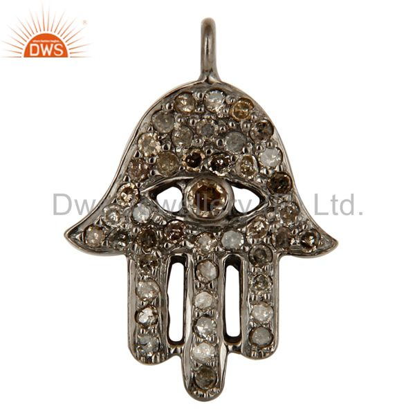 Rhodium Plated 925 Sterling Silver Pave Diamond Hamsa Charms Jewelry