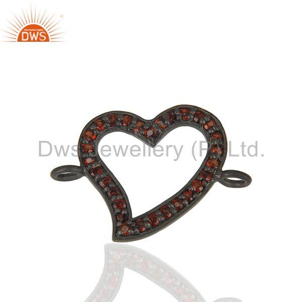 Heart Design Garnet Gemstone 925 Silver Connector Jewelry Findings