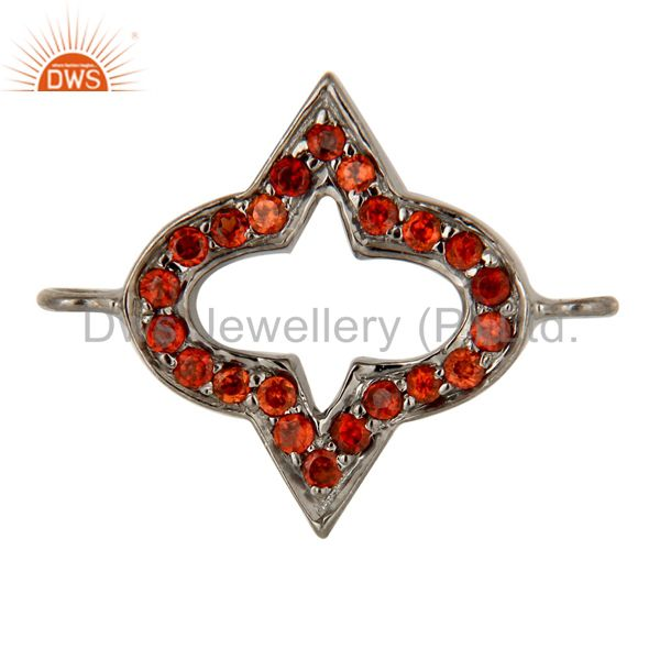 Rhodium Plated 925 Sterling Silver Natural Garnet Charms Jewelry