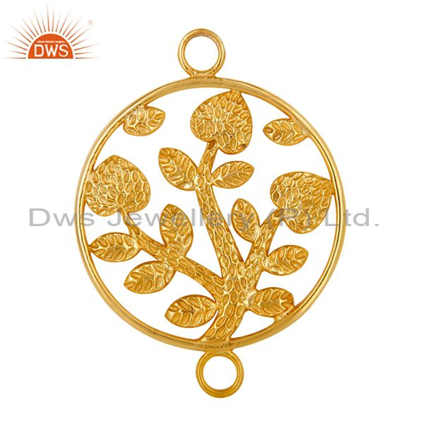 18k yellow gold plated sterling silver textured floral charms connector jewelry