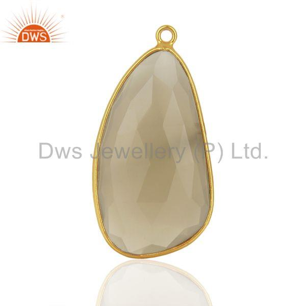 Gray Chalcedony Gemstone Gold Plated Silver Pendant Connector Supplier