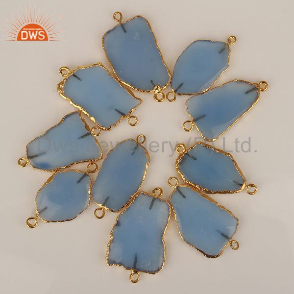 Blue chalcedony connectors,handmade connector,electroplated gemstones connector