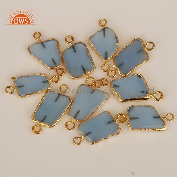 Blue chalcedony connectors 14k yellow gold plated brass fashion jewelry