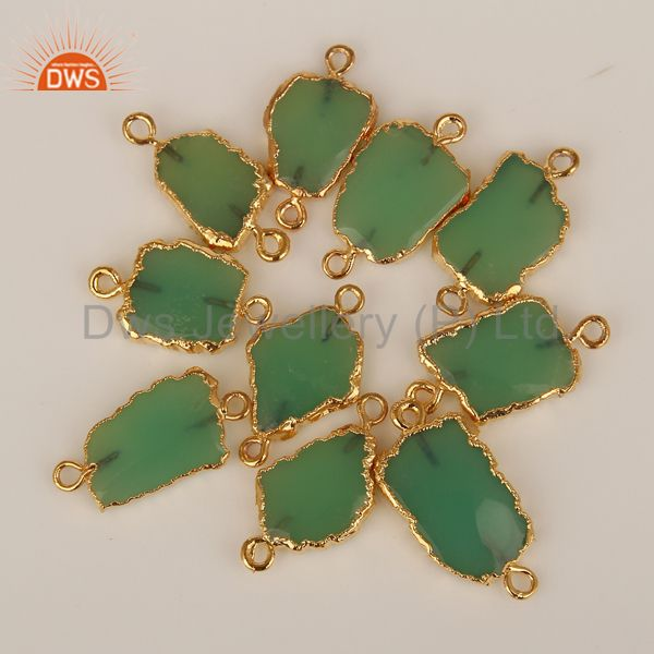 Natural chrysoprase connectors 14k yellow gold plated brass fashion jewelry