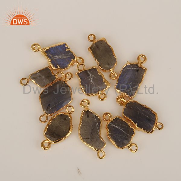 Natural labradorite connectors 14k yellow gold plated brass fashion jewelry
