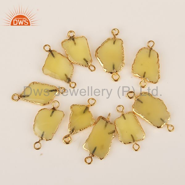 Yellow Chalcedony Connectors 14K Yellow Gold Plated Brass Fashion Jewelry