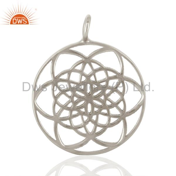 Flower of life 925 sterling silver white rhodium plated jewellery finding