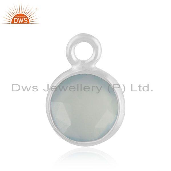 92.5 Sterling Silver Aqua Chalcedony Gemstone Charm Jewelry Findings Manufacture