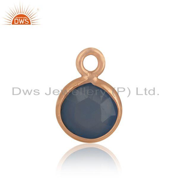 Rose gold plated 925 silver blue chalcedony gemstone connector jewelry