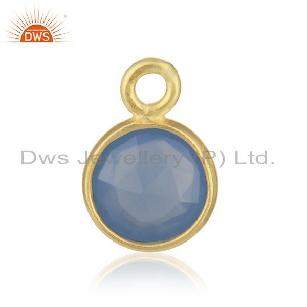 18k Gold Plated 925 Silver Blue Chalcedony Gemstone Connector Jewelry