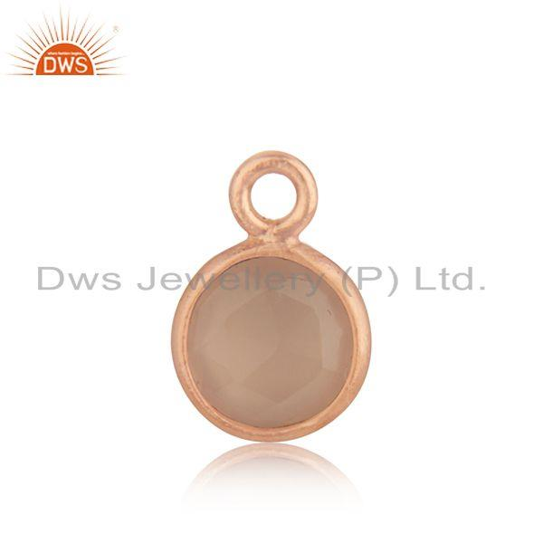 Rose chalcedony gemstone 925 silver rose gold plated jewelry findings charm